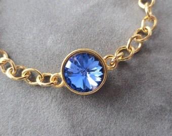 Gold Sapphire Bracelet, September Birthstone Jewelry, Gold Chain, September Birthday Gift, Swarovski Crystal, Sapphire Blue Bracelet