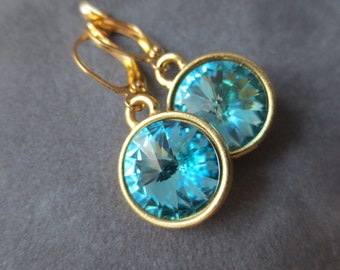 Blue Zircon Earrings, Gold December Birthstone Jewelry, Dangles, December Turquoise Blue Zircon Drop Earrings