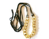 Chunky Gold Chain Link & Gold/Black Leather Necklace