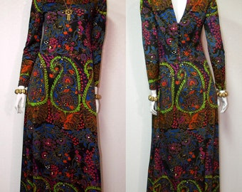 Don Luis de Espana 60s Vintage Mod Print Maxi Dress