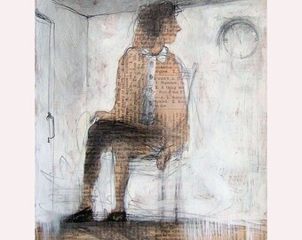 art Man drawing illustration print man figurative people Time Watcher