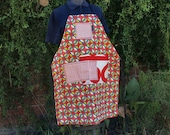 Kaleidoscope of color apron, red, blue, green, yellow, large pockets