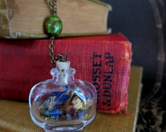 "Glass Bottle Necklace With Miniature Flowers Inside - ""Fire Island"" Design"