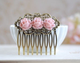 Pink Rose Hair Comb. Powder Pink Dusk Pink Rose Brass Filigree Hair Comb. Wedding Bridal Hair Comb, Flower Girl Hair Accessory