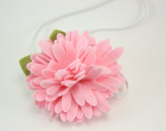 Baby Headbands - Pink Felt Flower Headband - Newborn Baby Girl to Adult