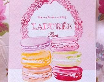 Ladurée Macaroons, A6 prints, set of three