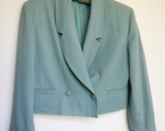 Smart Lightweight Jacket 1980s Aqua blue cotton twill mix