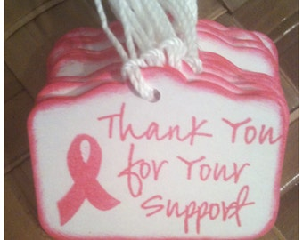 Hope for a Cure 25pc THANKS For Your SUPPORT Fundraiser Bake Sale Tags Breast Cancer Awareness Pink Ribbon Handmade Raspberry Thank You Tags