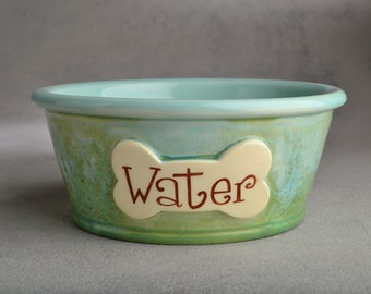 Dog Bowl Single Personalized Made To Order Smooth Dog Bowl by Symmetrical Pottery