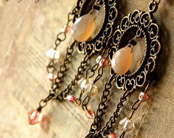 Clearance item 30% Off Spring Moonstone Earrings 4 inches