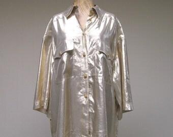 Vintage 1980s Blouse / 80s Gold Metallic Silk Designer Blouse LINA LEE / Large