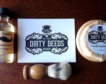 Men  Gift Shaving Kit with aftershave Shaving Set, Beer Soap, Handmade Soap