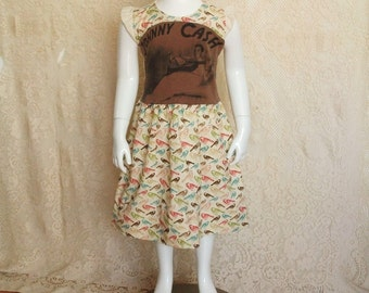 Ooak upcycled Johnny Cash kids band tee dress with ruffled sleeves