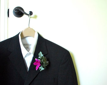 Real Touch Artificial Succulent Boutonniere Buttonhole with Fuchsia Orchid and Dusty Miller Leaf (Desert Wedding, Modern Style, Green)