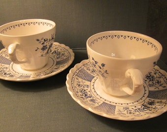 J G Meakin - Two Cup and Saucer Sets - Blue and White China