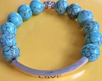 Love Silver annd Turquoise Bracelet