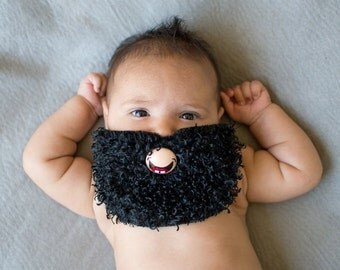 Black Curly Custom Hand Painted & Hand Cut Beard Pacifier by PiquantDesigns