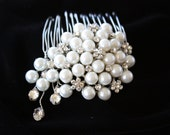 PEARL BRIDAL HAIR Comb with Rhinestones, just stunning, Wedding Comb, Special Occasion, Hair Piece, Side Comb