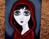 Red Hood Painting - Girl Painting - Big Eye Art - 8x10 Painting - Original Painting