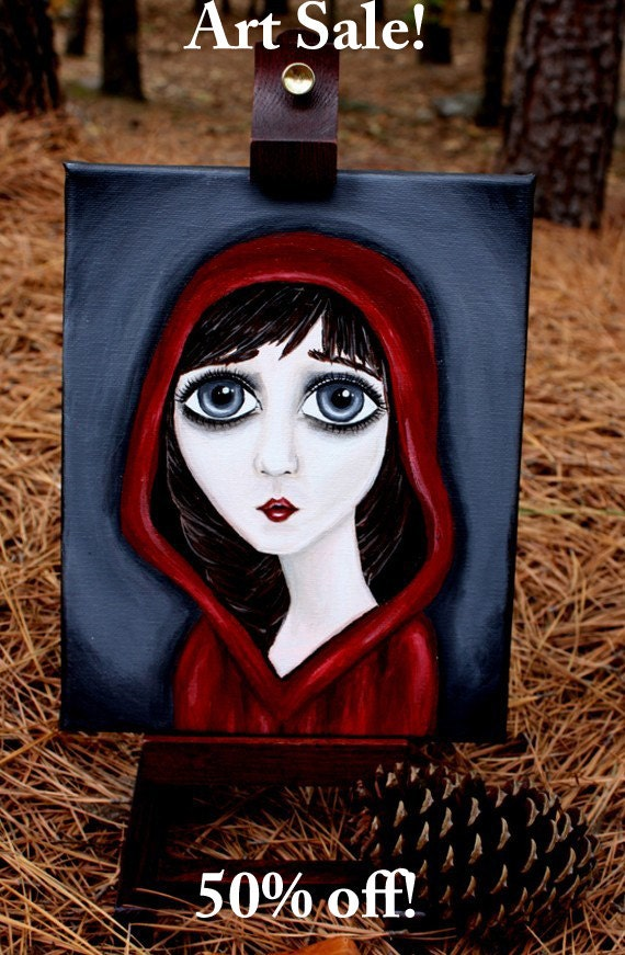 Red Hood Painting - Girl Painting - Big Eye Art - 8x10 Painting - Original Painting