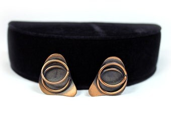 Modernist Copper Earrings in Kidney Design