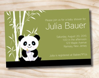BAMBOO PANDA Baby Shower Invitation - Printable Digital file or Printed Invitations