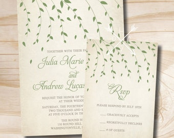 Vintage Ivy Leaves Willow Tree Wedding Invitation and Response Card Invitation Suite