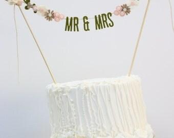BRIDES MAGAZINE 2016 - Wedding Cake Banner - Wedding Cake Topper - Mr and Mrs Cake Banner - Wedding Cake Topper: Olive and Light Pink