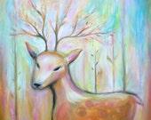 Deer - Original acrylic painting  - Magical Artwork by Dina Argov.