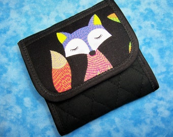 Women Wallet - Tea Bag Wallet Fabric Tea Wallet Travel Fox Cute Small Wallet Vegan Wallet Tea Holder Tea Bag Holder Tea Bag Carrier  Velcro