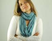 Infinity Scarf - Wide Circle Scarf - Chunky - Cowl - Shawl - Light Blue - Eco Friendly Jersey - Organic Clothing