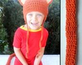 Kids Kitty Cat Halloween Costume in Orange- Crochet Earflap Hat and Tail Set - Childrens Accessories by Julian Bean
