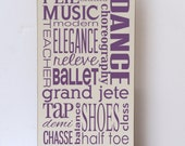 Dance Subway Art Wood Sign, Children Wall Art, Girl Bedroom Decor, Nursery Sign, Dance Decor, Art for Dance, Dance Studio Decor, Your Colors