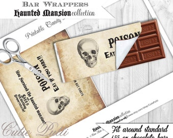 Haunted Mansion Party, Halloween Party, Haunted House Party - PRINTABLE CHOCOLATE BAR Wrappers - Cutie Putti Paperie