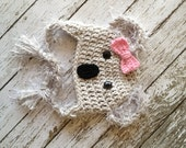 Little Miss Koala Bear Hat in Gray, Pink and Black Available in Newborn to Toddler Sizes- MADE TO ORDER