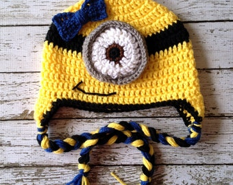 Little Miss Minion Inspired Beanie in Yellow, Black and Blue Available in Newborn to 5 Years Size- MADE TO ORDER