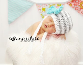 Stripe Big Bow Beanie in White, Gray and Teal Available in Newborn to 5 Year Size- MADE TO ORDER
