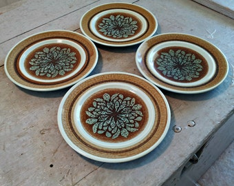 Vintage Franciscan Nut Tree Earthenware Small Plates - Set of 4 - Stylistic Flower - Near MINT