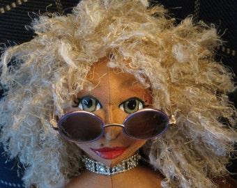 SANDY Is A Girl Who Loves The Beach - a handmade CLOTH DOLL