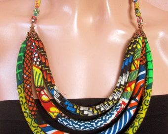 African statement necklace, African beads, African ethnic jewelry, wax print fabric, bohemian jewelry