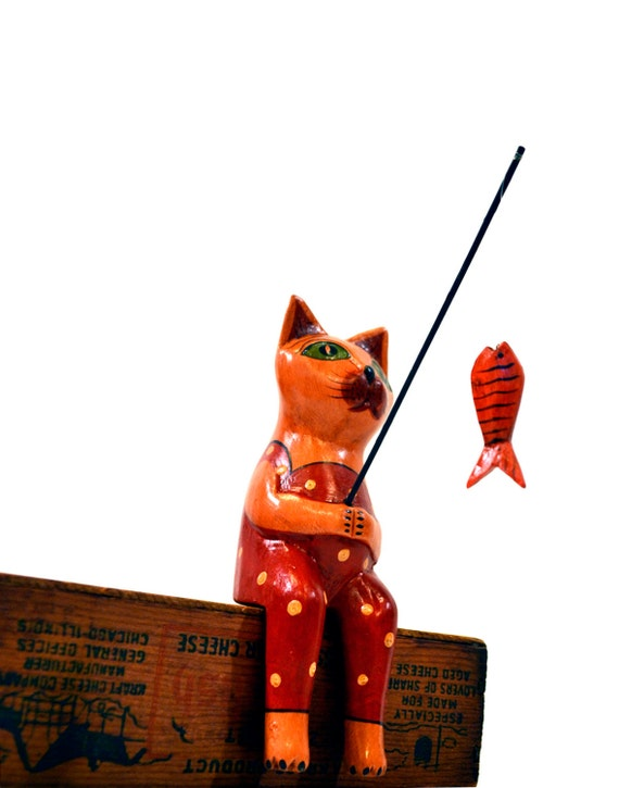 Resourceful fishing cat folk art wooden cat figurine with for Cat fishing pole