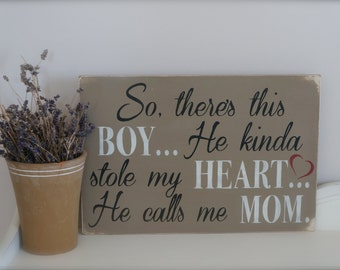 So There's This Boy, Wood Wall Art, Wood Sign, Nursery Art, Custom Sign, Quote, Boy, Quote sign