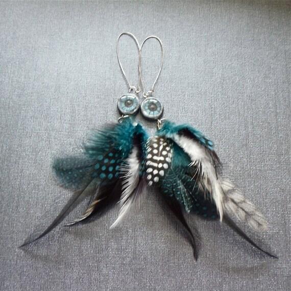 Long Feather Earrings Metallic Blue Teal Eyes Long Dangle Earrings Hippie Boho Earrings Fun Fashion Jewelry