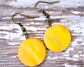 Yellow Mother of Pearl Coins . Earrings