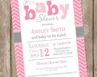 Pink and Gray Girl BABY Shower Invitation, chevron, pink, gray, grey, printable invitation