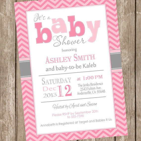 pink and gray girl baby shower invitation chevron pink gray grey