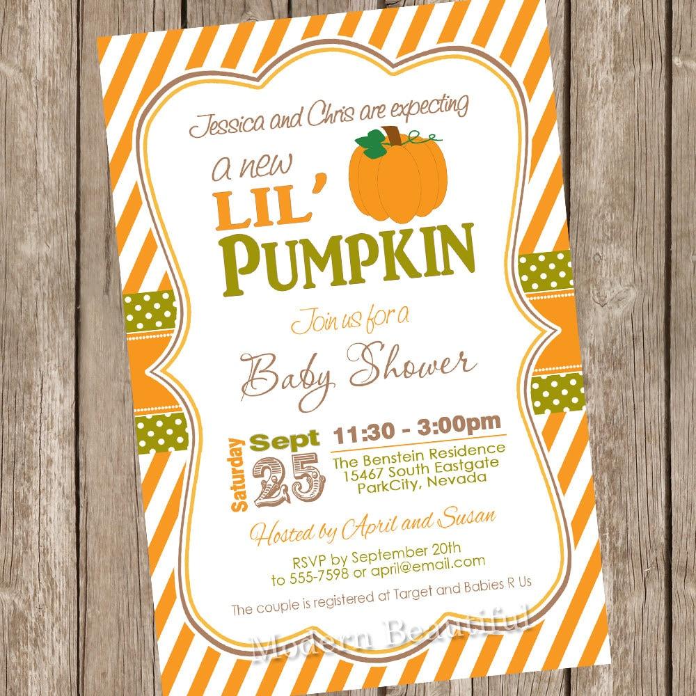fall little pumpkin baby shower invitation by modernbeautiful