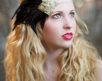 Gold & Silver Art Deco Feather Headband, 1920s Headband, Flapper Headband, Great Gatsby Headband, Flapper Headpiece, Beaded Headband
