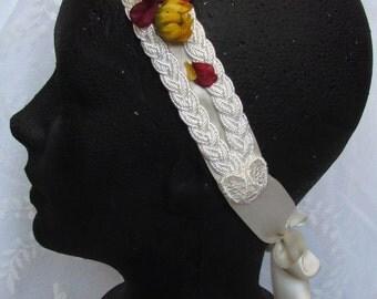 Braided Wedding Headband with Flowers