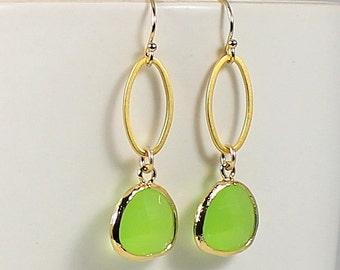 Green Briolette Earrings, Peridot Earrings, 14k Gold Filled Elegant Dangle Earrings, Birthday Gift For Her Bridesmaid Jewelry Gold Earrings